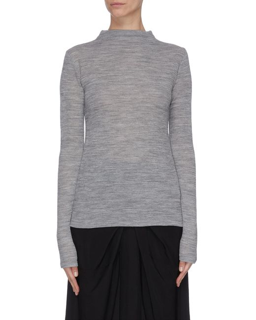 Vince Gray Crepe Wool Funnel Neck