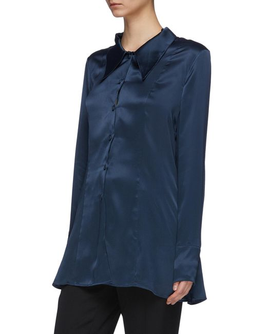 67d6fa5dcdd69 ... Maison Margiela - Blue Chantilly Lace Camisole Panel Off-shoulder Silk  Satin Shirt for Men ...