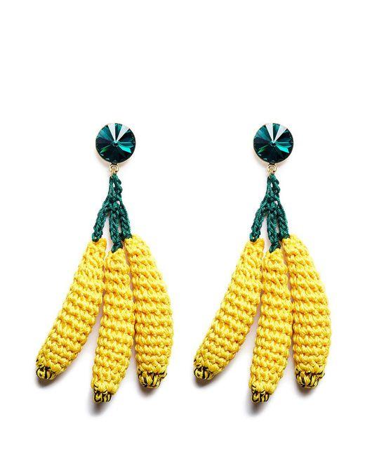Venessa Arizaga   Yellow 'banana Split' Rhinestone Crochet Fruit Drop Earrings   Lyst