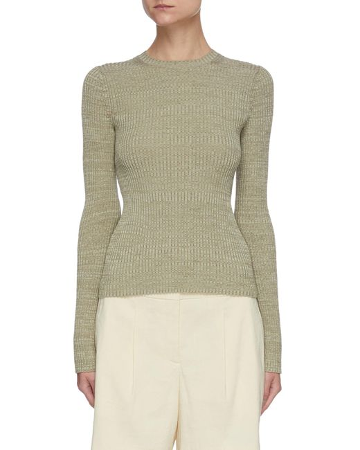 Vince Green Rib Cotton Wool Blend Crewneck Sweater