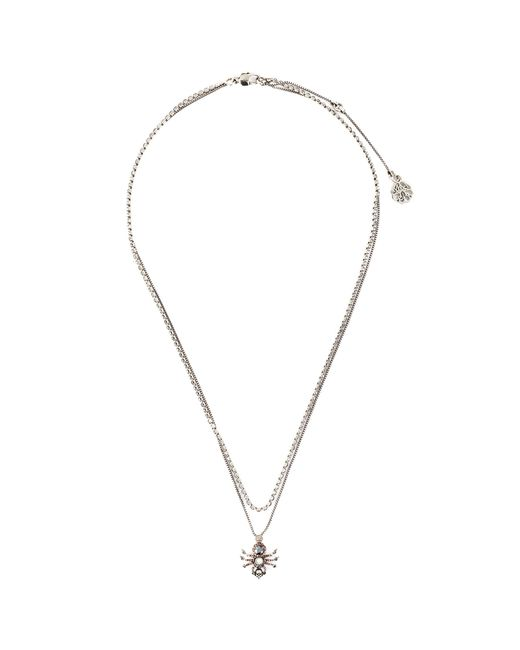 Alexander McQueen Metallic Swarovski Crystal Pavé Spider Double Chain Necklace