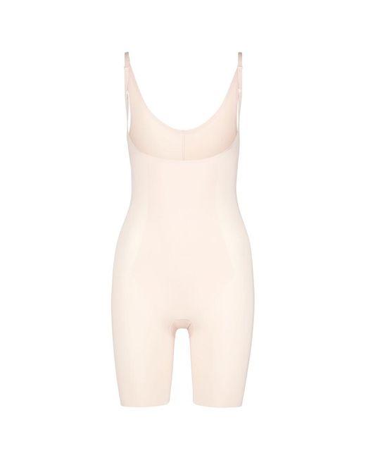 Spanx - Black 'thinstincts' Open Bust Mid Thigh Bodysuit - Lyst