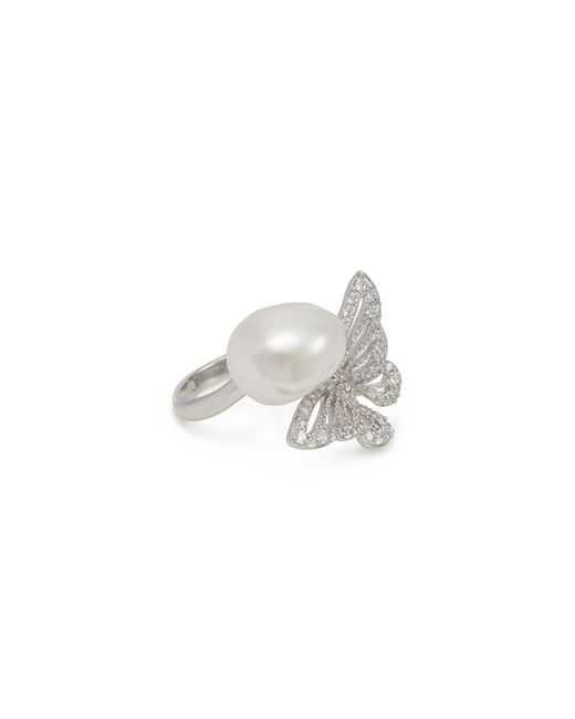 Anabela Chan - Metallic 'butterfly' Diamond Freshwater Pearl Ring - Lyst