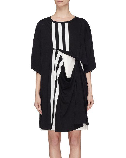Y-3 - Black 3-stripes Cutout Layered Detchable Long T-shirt Dress - Lyst