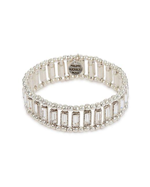 Philippe Audibert Metallic 'titia' Swarovski Crystal Bead Elastic Bracelet
