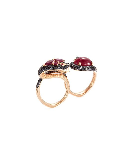 Stephen Webster - Metallic Diamond Ruby 18k Rose Gold Two Finger Snake Ring - Lyst