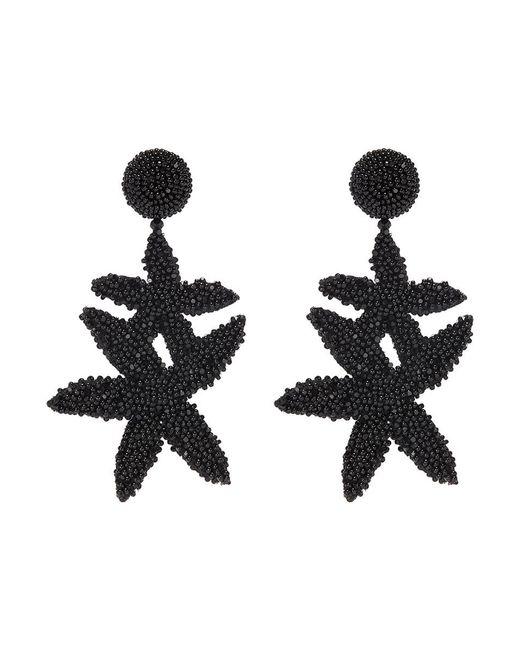 Oscar de la Renta - Black Beaded Double Starfish Drop Clip Earrings - Lyst