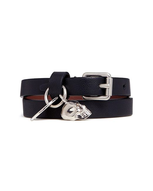 Alexander McQueen - Black Skull Charm Double Wrap Leather Bracelet - Lyst
