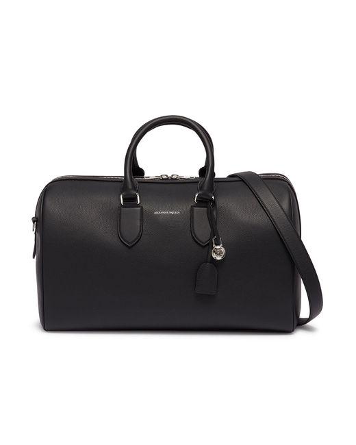 Alexander McQueen - Black Logo Print Leather Weekend Duffle Bag for Men - Lyst