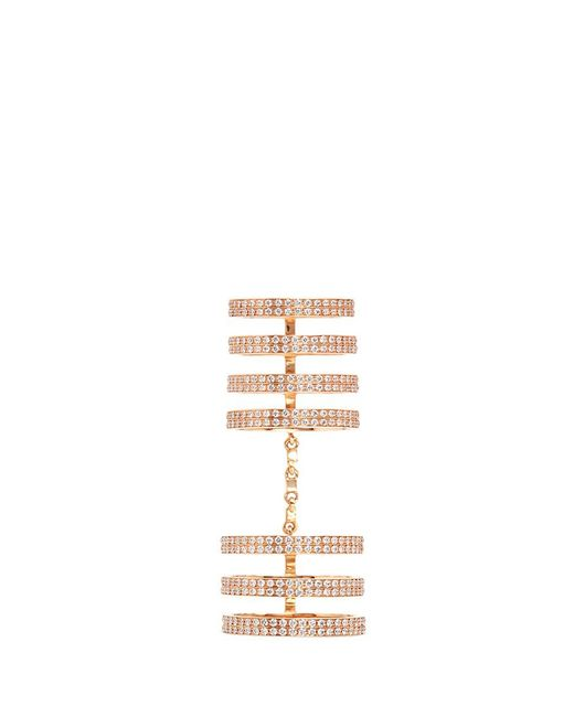 Repossi | Metallic 'berbère' Diamond 18k Rose Gold Seven Row Linked Ring | Lyst