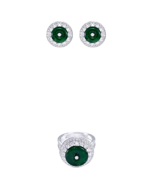 LC COLLECTION Metallic Diamond Jade 18k White Gold Disc Ring And Earrings Set