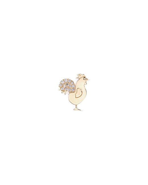 Loquet London | Metallic 18k Yellow Gold Diamond Chinese New Year Charm - Rooster | Lyst