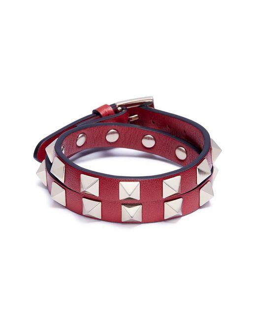 Valentino - Red 'rockstud' Double Wrap Bracelet - Lyst