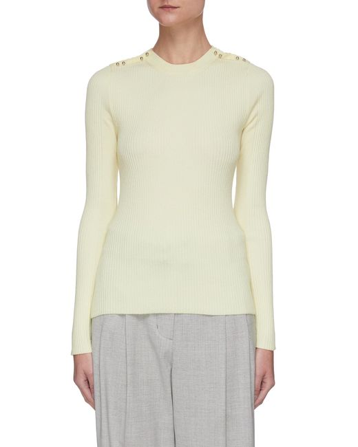 3.1 Phillip Lim Yellow Bead Embellished Shoulder Seam Rib Knit Sweater