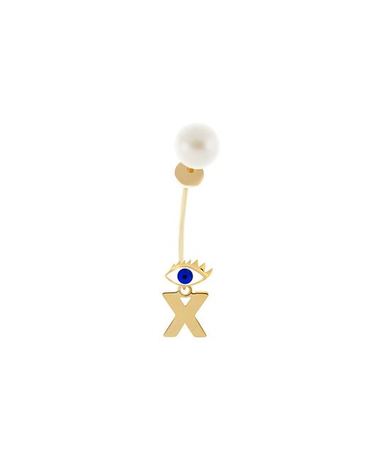 Delfina Delettrez - Metallic 'micro Eye Piercing' Freshwater Pearl 18k Yellow Gold Single Earring - Lyst