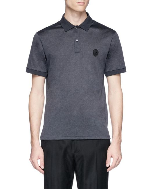 Alexander McQueen - Gray Skull Patch Polo Shirt for Men - Lyst