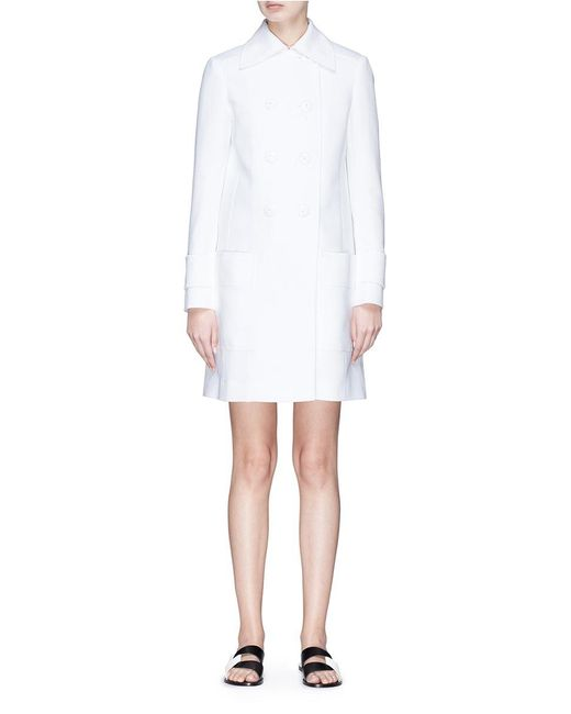 Emilio Pucci | White Double Breasted Piqué Coat | Lyst