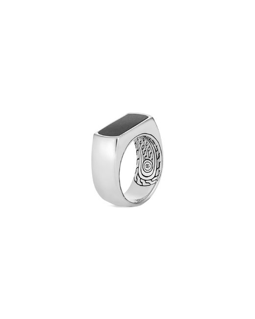 John Hardy - Metallic 'asli Classic Chain' Onyx Silver Signet Ring for Men - Lyst