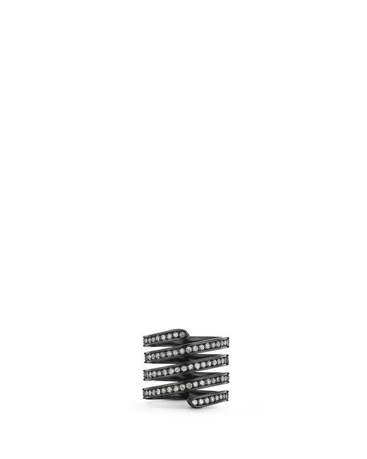 Lynn Ban   'pavé Coil' Diamond Black Rhodium Silver Ring   Lyst