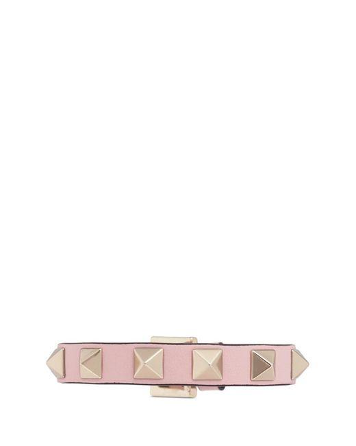 Valentino | Pink 'rockstud' Small Leather Bracelet | Lyst
