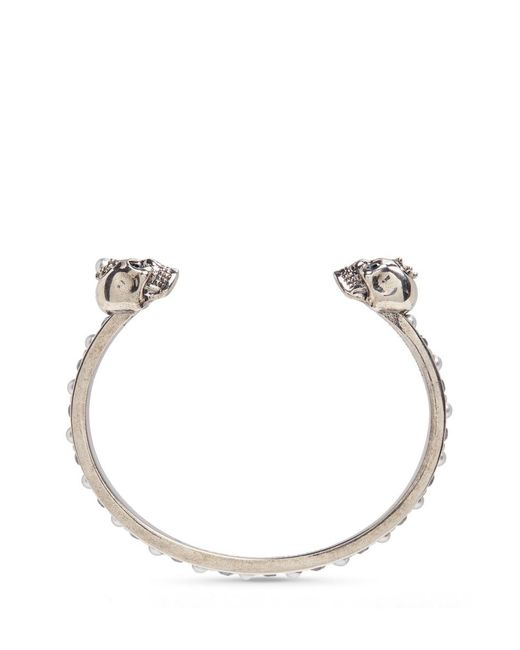 Alexander McQueen | Metallic Crystal And Faux Pearl Embellished Twin Skull Cuff | Lyst