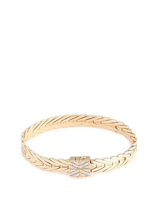 John Hardy | Metallic Diamond 18k Yellow Gold Weave Effect Link Chain Bracelet | Lyst
