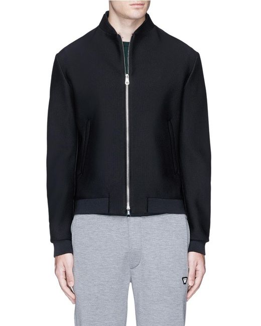 Armani | Black Mesh Jersey Track Jacket for Men | Lyst
