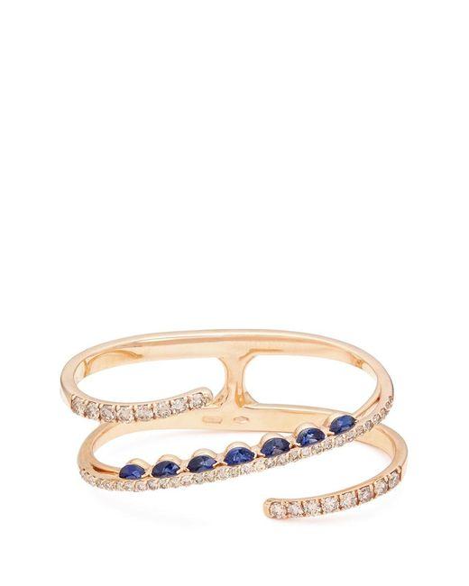 Ferrari Firenze | Metallic 'light' Diamond Sapphire 18k Rose Gold Two Finger Ring | Lyst