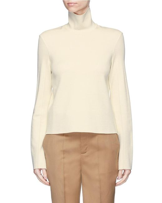 Mrz | White Convertible Collar Double Faced Knit Sweater | Lyst