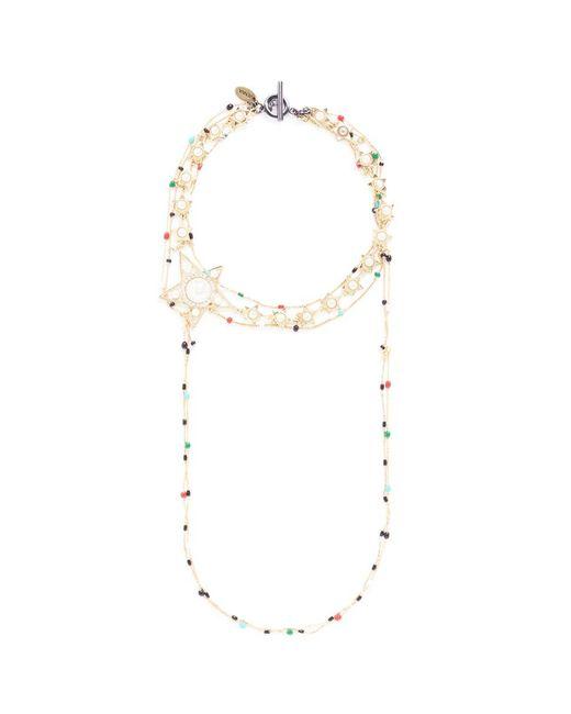 Venna   Metallic Faux Pearl Star Charm Beaded Chain Choker Necklace   Lyst