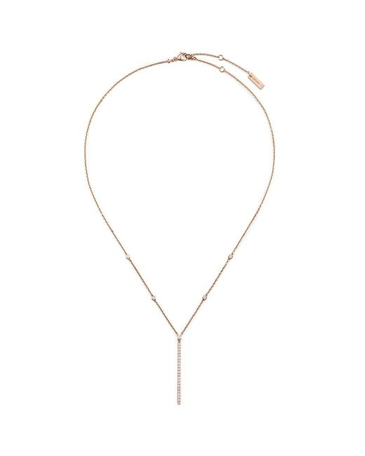 Messika | Metallic 'gatsby Verticale Bar' Diamond 18k Rose Gold Pendant Necklace | Lyst