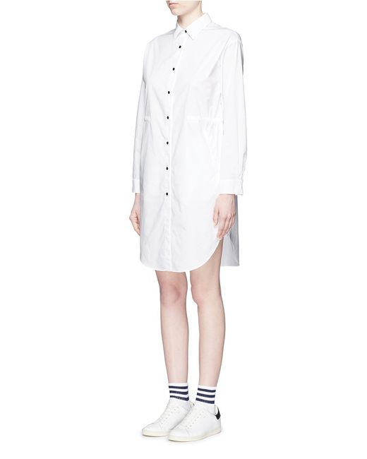 Mo Co Monogram Embroidery Poplin Shirt Dress In White Lyst