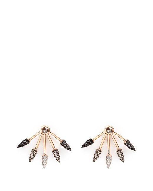 Pamela Love | Metallic Ombré 5 Spike' Diamond 18k Rose Gold Fan Earrings | Lyst