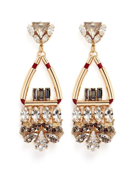 Anton Heunis   Metallic Swarovski Crystal Glass Stone Leather Cord Chandelier Earrings   Lyst