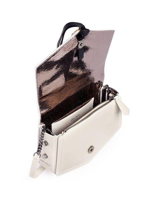 Jimmy choo 'arrow' Chevron Leather Crossbody Bag in White ...