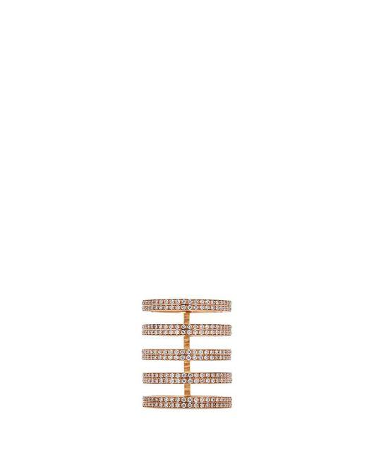 Repossi | Metallic 'berbère' Diamond 18k Rose Gold Five Row Ring | Lyst