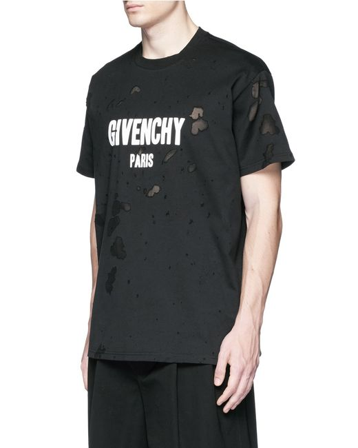 Givenchy logo print distressed t shirt in black for men lyst for Givenchy t shirts for sale