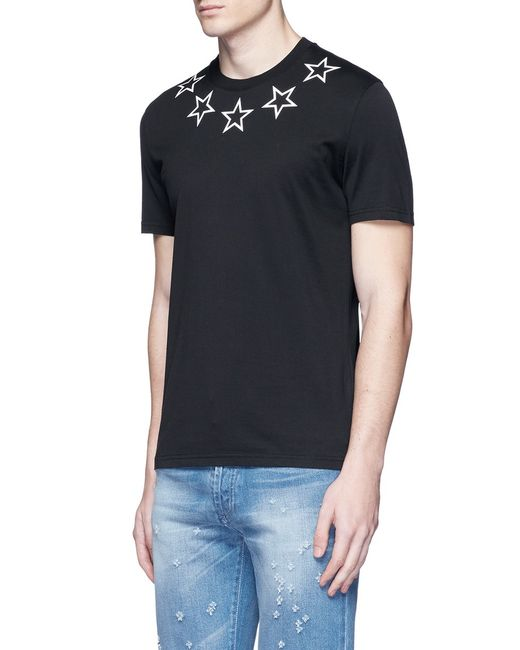 Givenchy star print cotton t shirt in black for men lyst for Givenchy t shirts for sale