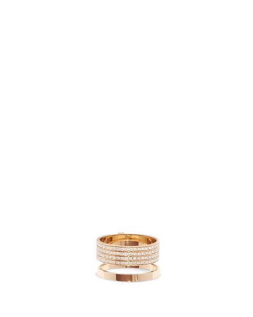 Repossi | Metallic 'berbère' Diamond Pavé 18k Rose Gold Two Row Ring | Lyst