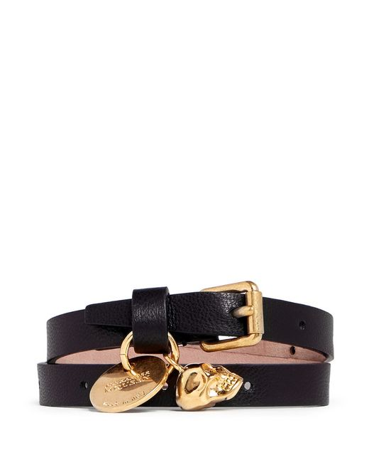 Alexander McQueen | Black Skull Charm Double Wrap Leather Bracelet | Lyst