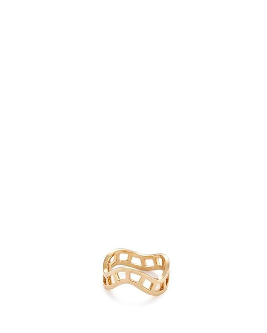 Sophie Bille Brahe | Metallic 'la Échelle' 18k Yellow Gold Cutout Wavy Ring | Lyst