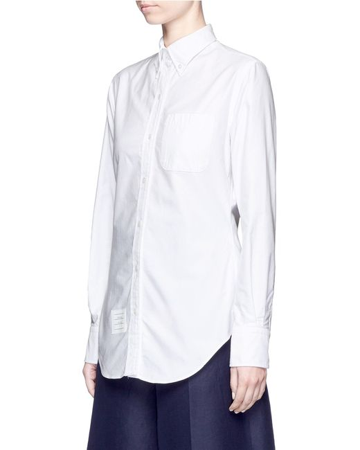 Thom browne button down collar cotton oxford shirt in for White oxford shirt women