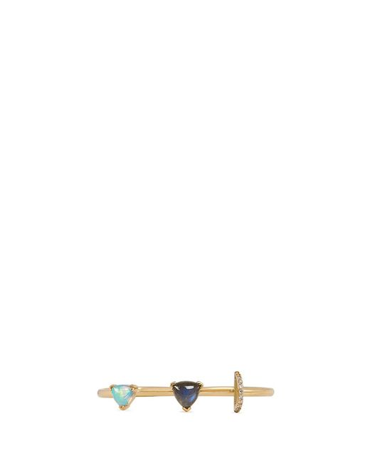 Phyne By Paige Novick | Metallic Marta' 18k Gold Diamond Pavé Opal Labradorite Two Finger Ring | Lyst