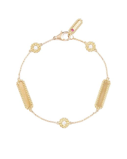 Roberto Coin | Metallic 'new Barocco Chains' Diamond 18k Yellow Gold Station Bracelet | Lyst