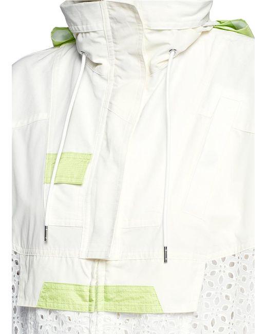 Sacai parka collar eyelet lace blouson jacket in white lyst for Mens eyelet collar dress shirts