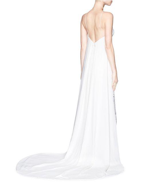 Self portrait 39 angelica 39 crepe train floral lace bridal for Self portrait wedding dress