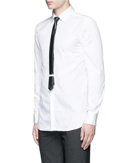 Neil barrett thunderbolt pin faux leather tie tuxedo shirt for Neil barrett tuxedo shirt
