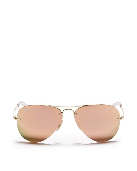 Ray-Ban | Metallic 'rb3449' Aviator Mirror Sunglasses for Men | Lyst