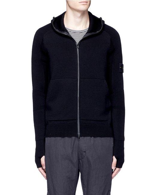 Stone Island | Black Logo Patch Hooded Wool Jacket for Men | Lyst