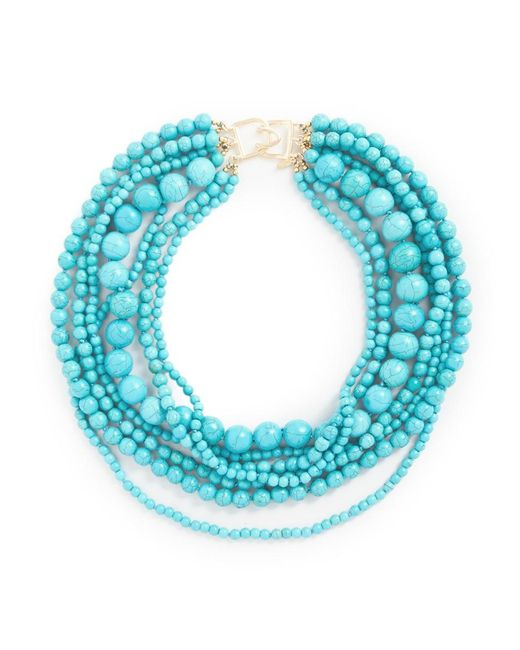 Kenneth Jay Lane | Blue Stabilized-turquoise Bead Multistrand Necklace | Lyst